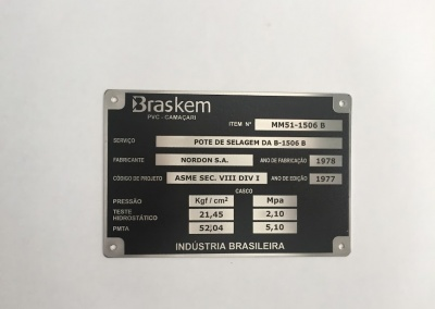 Placa identificação aço inox